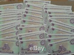 1997 5 Roupies Pakistan Monnaie Unc Banknote 40 Notes Consécutives