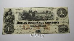 $1 18 Adrian Michigan MI Obsolète Devise Banque Note Bill Reliure! Cnu++