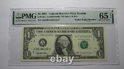 1 $ 1995 Numéro De Série Du Radar Réserve Fédérale Devise Bill Pmg Unc65epq