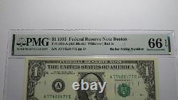 1 $ 1995 Numéro De Série Du Radar Réserve Fédérale Devise Bill Pmg Unc66epq