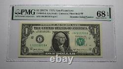 1 $ 2017 Répéteur Numéro De Série Réserve Fédérale Devise Bill Pmg Unc68