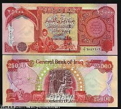 1/4 Millions 250000 Iraqi (25000 X 10) Iraq Dinars Unc Monnaie Iqd Monnaie 25,000
