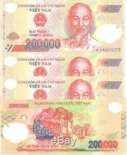 1 Million De Dongs = 5 X 200 000 Billets De Billets En Polymères Vietnam Unc