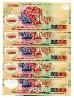 1 Million Dong Banknote = 5 X 200000 200000 Dong Vietnam Monnaie Billet Unc