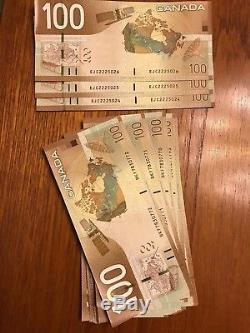 1x Canada Billets De Banque En Billets De Banque De 100 Gem Unc Canadiens, Sn Consécutifs, 2004
