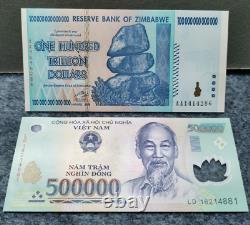 2008 Zimbabwe 100 Trillion Dollars Vietnam 500000 Dong Banknote Monnaie Unc