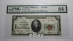 20 $ 1929 Chandler Oklahoma Ok Banque Nationale Monnaie Remarque Bill Ch # 5354 Unc64epq