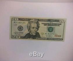 20 $ Dollar Remarque Avec Fancy Numéro De Série Ladder Brisé Monnaie Américaine Unc 2013 Frb