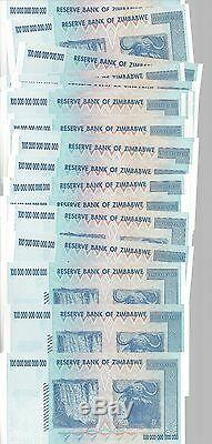 20x 100 Milliards De Dollars En Monnaie Du Dollar Zimbabwéen. Unc Million 5 10 25 50 500