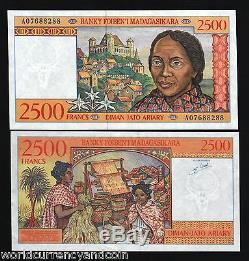 2500 Francs 2500 Madagascar P81 1998 X 100 Pcs Bundle Lot Unc Monnaie Des Billets