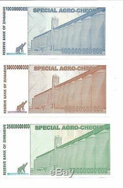25 50 100 Milliards De Dollars Du Zimbabwe Za, 2008, Argent Monnaie. Unc. 10 20 Billions