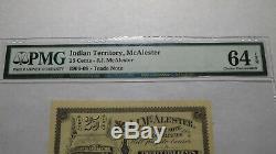 $. 25 Mcalester Territoire Indien Obsolète Bank Note Bill! Unc64 Oklahoma Devise