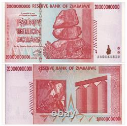25pcs 2008 Zimbabwe 20 Trillions De Dollars Billets Devise Unc