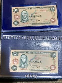 2 Pc -1976 Et 1977 Bank Of Jamaica $10, $5, $2, $1 Four Crisp Unc Currency Sets