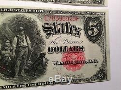 2 Unc Fr 88 Woodchopper 5,00 $ Grand Monnaie Us Billets En Sequence