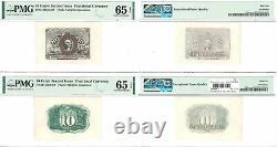 2ème Émission 10 Cent 2 Note Set Fractional Currency Specimens Pmg Gem Unc-65 Epq
