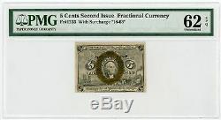 2ème Question Fr. 1233 5c États-unis Fractional Currency Remarque Pmg Unc 62 Epq