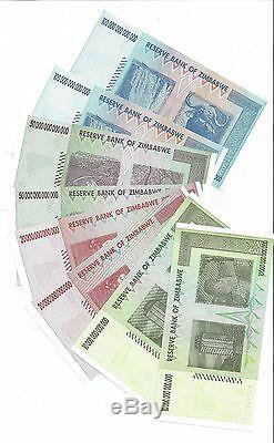 2x100 50 20 Et 10 Trillions De Zimbabwe Za Dollar Devise De Remplacement Monnaie Monnaie. Unc