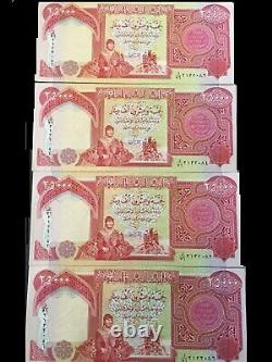 3 X 25 000 Billets De Banque De Dinars Iraquiens De La Cnu = 75 000 Dinars (iqd) Monnaie De L'irak / Monnaie