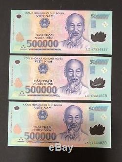 3 X 500 000 Dong Vietnam Dong Argent Polymère Billets De Ville Vietnames Unc