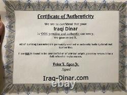 4 X 25 000 Banques Dinaires Iraqi Unc = 100 000 Iqd, Monnaie Certifiée Authentique
