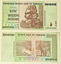 50 Trillion Zimbabwe Dollars Unc 2008 Zim Banknote, Aa Zim Monnaie / Monnaie