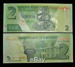 50 X Zimbabwe 2 Dollars 2019 Hybrid P New Unc Banknote / Monnaie 1/2 Bundle