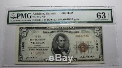 5 $ 1929 Billet De Banque National Du Ks Atchison Kansas Ks Bill Ch # 11405 Choice Unc