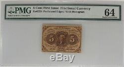 5 Cent Premier Numéro Fractional Currency Fr # 1228 Pmg Choix Unc 64 (001)