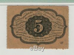 5 Cent Premier Numéro Fractional Currency Fr. 1228 Pmg Choix Unc 64 Perforé Bord