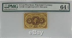 5 Cent Premier Numéro Fractional Currency Fr # 1230 Pmg Choix Unc 64 Epq (013)