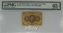 5 Cent Premier Numéro Fractional Currency Fr # 1230 Pmg Gem Unc 65 Epq (014)