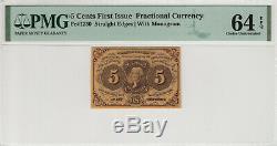 5 Cent Première Question Fractional Postal Monnaie Père 1230 Pmg Choix Unc 64 Epq (009)