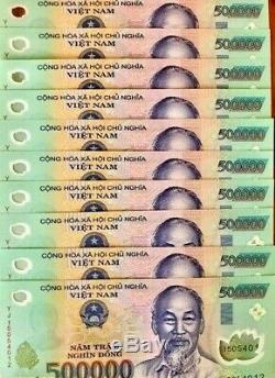 5 M Dong Banknote = 10 X 500000 500000 Dong Vietnam Monnaie Billet Unc