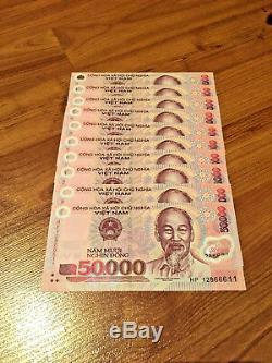5 Millions = 100 X 50 000 Billets De Banque En Monnaie Polymère Du Vietnam, Unc