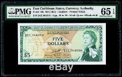 $ 5 Nd (1965) États Des Caraïbes Orientales, Autorité De La Monnaie Pmg 65 Epq Gem Unc