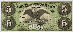5 $ Washington DC 5 $ 1862 Gouvernement Bank Note Unc Obsolète Monnaie Ordinaire Retour