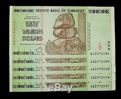 5 X Billets De 50 Milliards De Dollars Du Zimbabwe / Monnaie Authentique Consécutive De L'unc