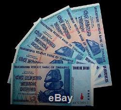5 X Billets De Banque De 100 Trillions De Dollars Du Zimbabwe - Devise Unc