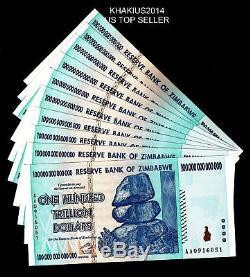 5 Xzimbabwe 100 Trillions De Dollars, Série Aa / 2008, P-91, Unc, Monnaie De Billet
