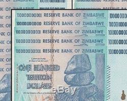 5x 100 Milliards De Dollars En Monnaie Du Dollar Zimbabwéen. Expédition Libre De Nous 10 20 50