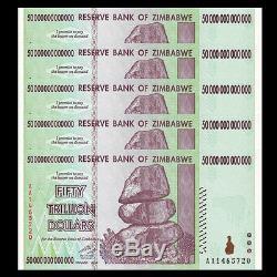 5x 50 Billions De Zimbabwe Dollars Monnaie De La Monnaie. Unc USA Vendeur