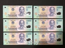 6 X 500 000 Vietnam Dong Money Polymeres Billets De Billets Millions De Vietnamiens Unc