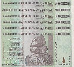 6x 50 Billions De Zimbabwe Dollars Monnaie De La Monnaie. Unc USA Vendeur