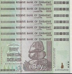 7x 50 Billions Zimbabwe Dollar De L'argent De Change. Vendeur Unc USA