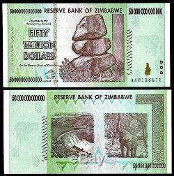 8/50 Zimbabwe Dollar Billion Argent Monnaie. USA Vendeur Unc