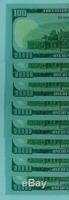 8 X $ 100 Sn Consécutive Étoile Billet De Cent Dollars Sequential Unc 2009 Monnaie Lot