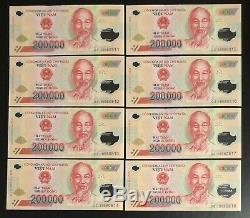8 X 200 000 Dong Vietnam Dong Argent Polymère Billets De Ville Vietnames Unc