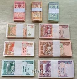 9x100pc 1993-2019 Mongolie 1 5 10 20 50 100 Tugrik Banknote Monnaie Unc Bundle