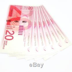 A +++ Israela 6 Pcx20 Shekel Nis-billet Unc Consécutive Bills Devise Argent